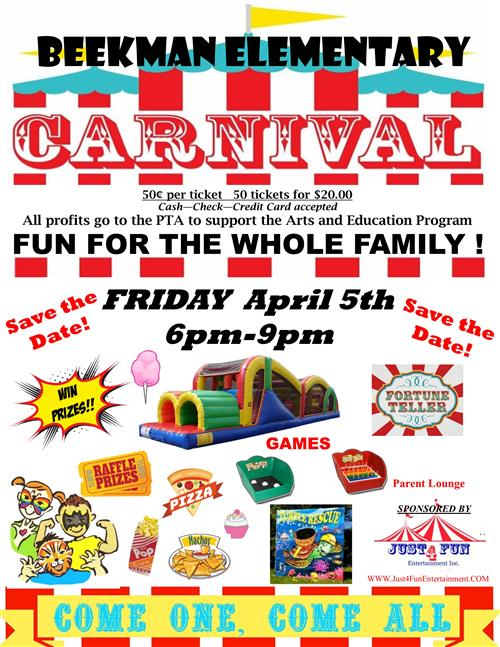 Carnival Save the Date - Friday, April 5th, 2019 6-9 om