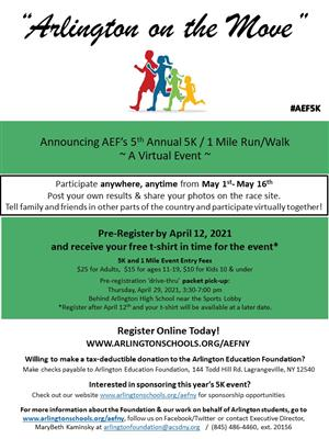 2021 AEF Virtual 5K / 1 Mile Run/Walk Event Flyer