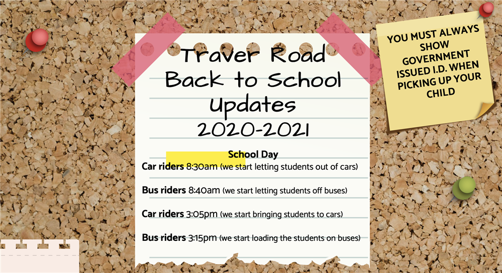 Traver Back to School Updates